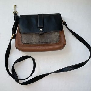 Fossil Kinley Small Crossbody Black and Brown